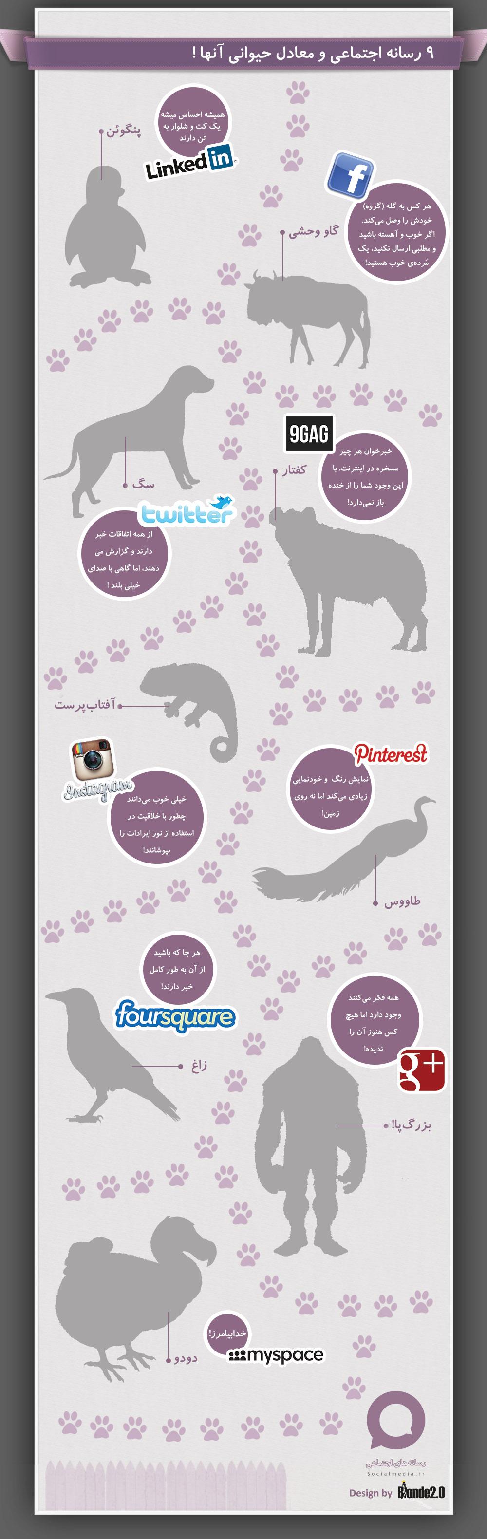 رسانه های اجتماعی و معادل حیوانی آنها