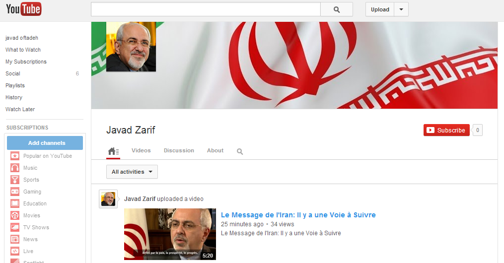 zarif youtube ظریف در یوتیوب
