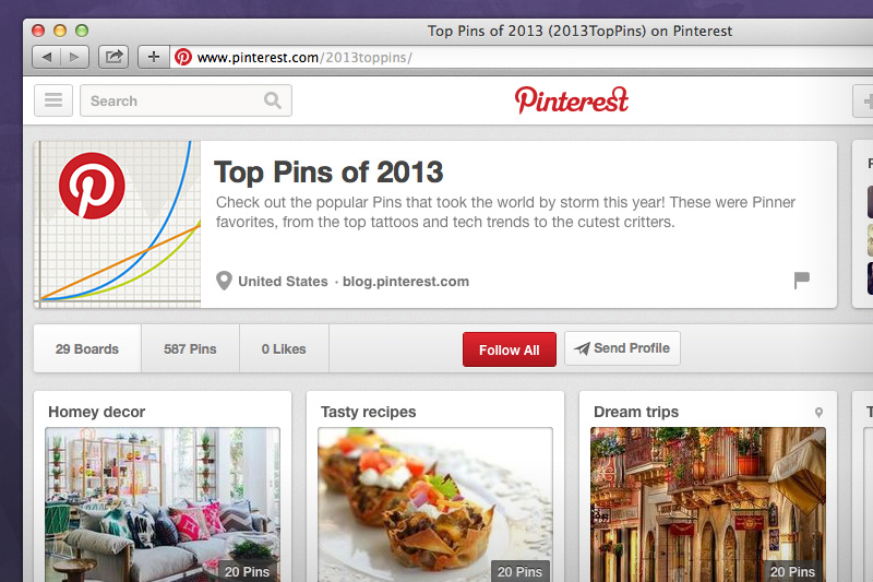 pintrest top 2013