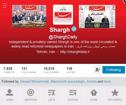 shargh twitter account